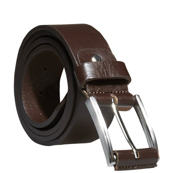Classical leather belt, brown , 954-4833 - 13
