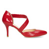 Leather pumps with T-strap, red , 724-5904 - 19