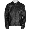 Leather jacket with trendy quilting, black , 974-6142 - 13
