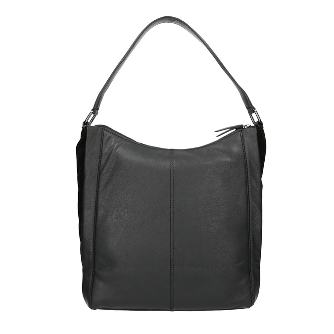 Hobo-style black leather handbag bata, black , 964-6254 - 19