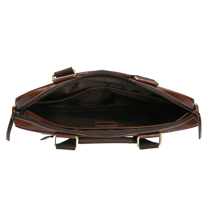 Men's leather satchel bata, brown , 964-4204 - 15
