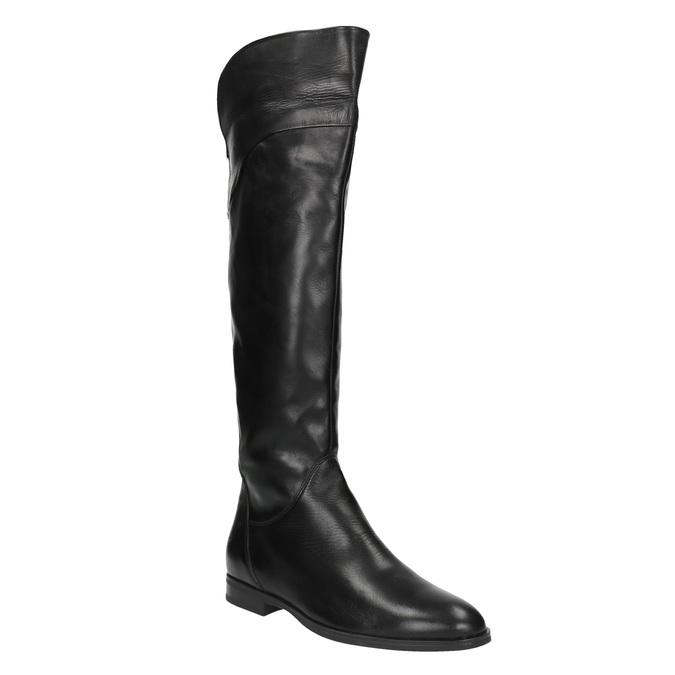 Ladies' leather knee-high boots bata, black , 594-6605 - 13
