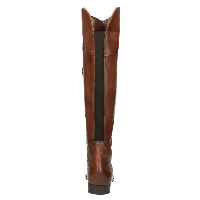 Brown leather knee-high boots bata, brown , 594-4605 - 17