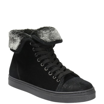 Leather ankle sneakers with fur bata, black , 593-6601 - 13