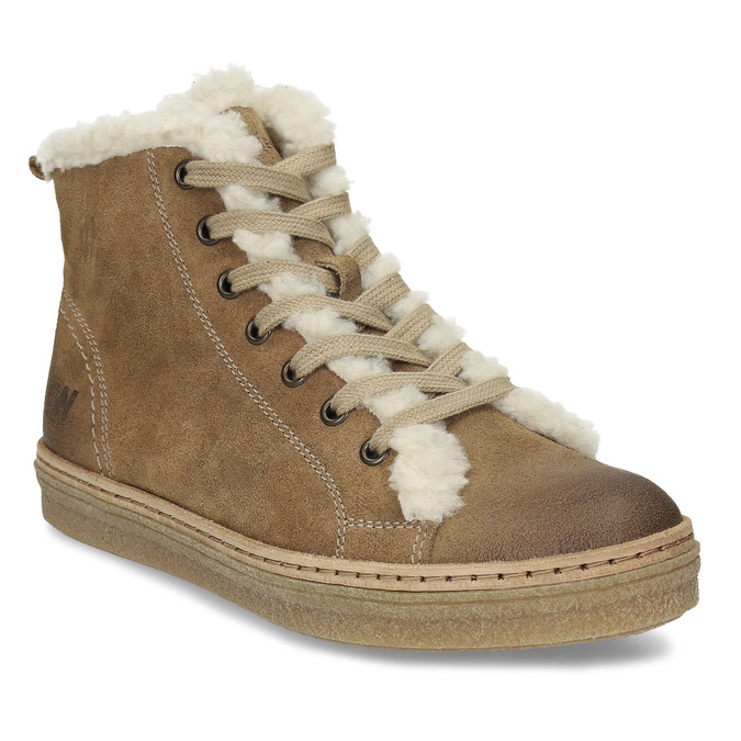 Leather ankle-cut sneakers with fur, brown , 596-8627 - 13