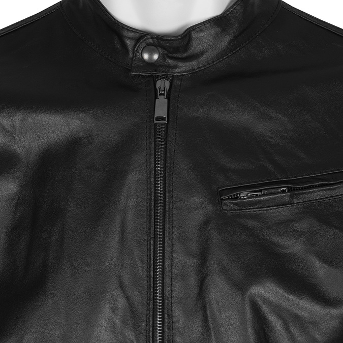 Leather jacket with trendy quilting, black , 974-6142 - 16