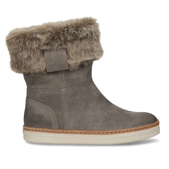 Leather winter shoes with fur, gray , 596-2633 - 19
