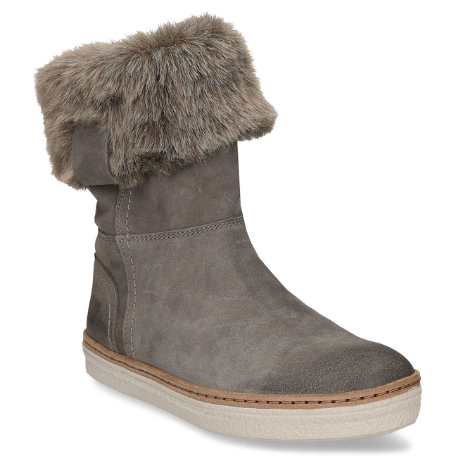 Leather winter shoes with fur, gray , 596-2633 - 13