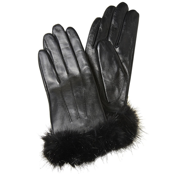 Ladies' leather gloves bata, black , 904-6126 - 13