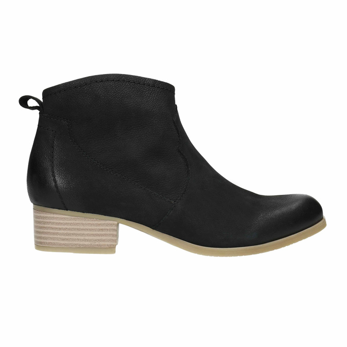 Black leather high ankle boots bata, black , 596-6633 - 15