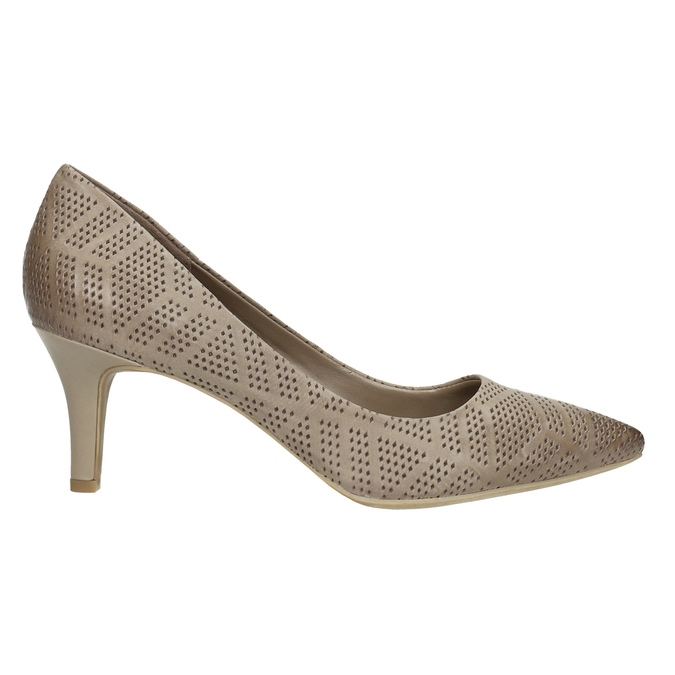 Ladies´ pumps with perforations pillow-padding, beige , 626-2636 - 15