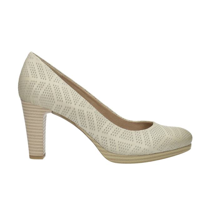 Leather court shoes with perforations, beige , 726-1642 - 15