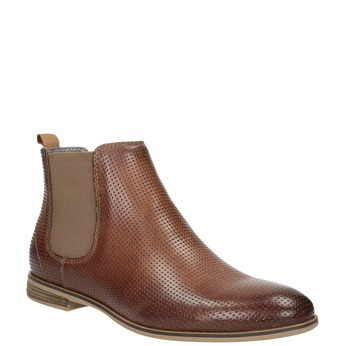 Leather Chelsea ankle boots with perforations bata, brown , 596-4644 - 13
