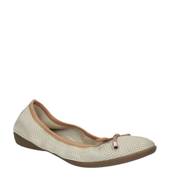 Leather ballet pumps with flexible topline bata, beige , 526-8617 - 13