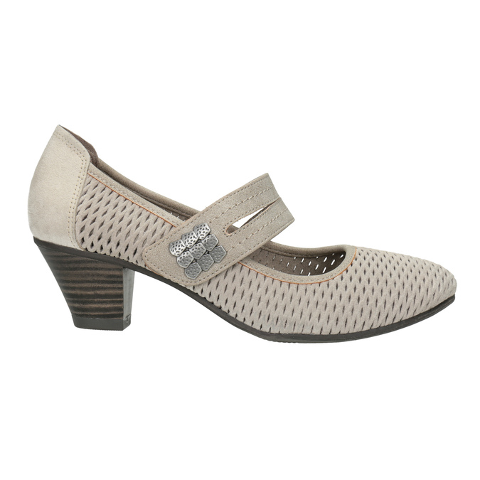 Leather pumps width H bata, gray , 623-2600 - 26