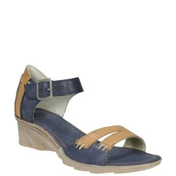 Leather wedge-heel sandals bata, blue , 626-9642 - 13