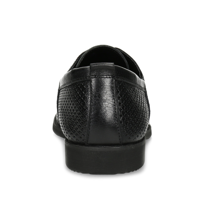 Leather shoes with perforations, black , 854-6601 - 15