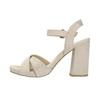 Ladies' sandals with a massive heel bata, beige , 769-8602 - 26