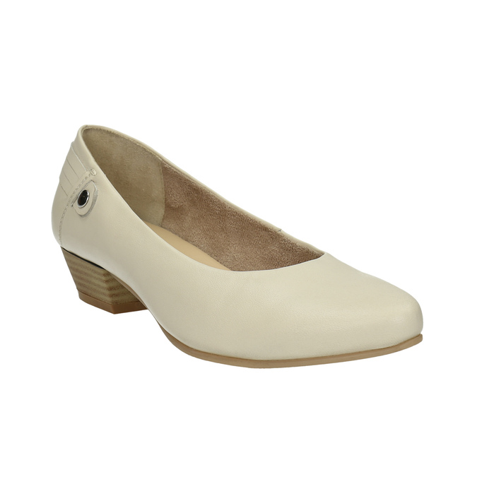 Leather low-heeled court shoes bata, beige , 624-1603 - 13
