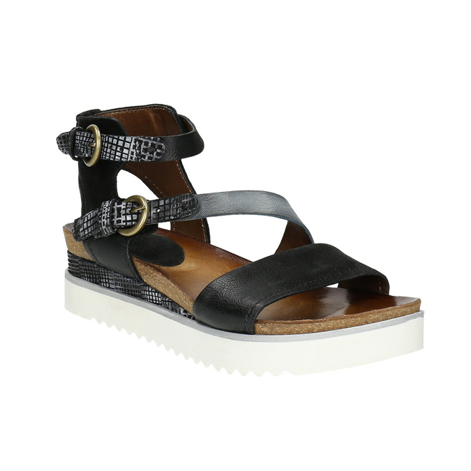 Ladies' leather flatform sandals bata, black , 666-6604 - 13