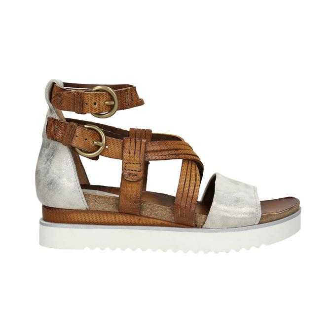 Leather flatform sandals bata, brown , 666-1605 - 15