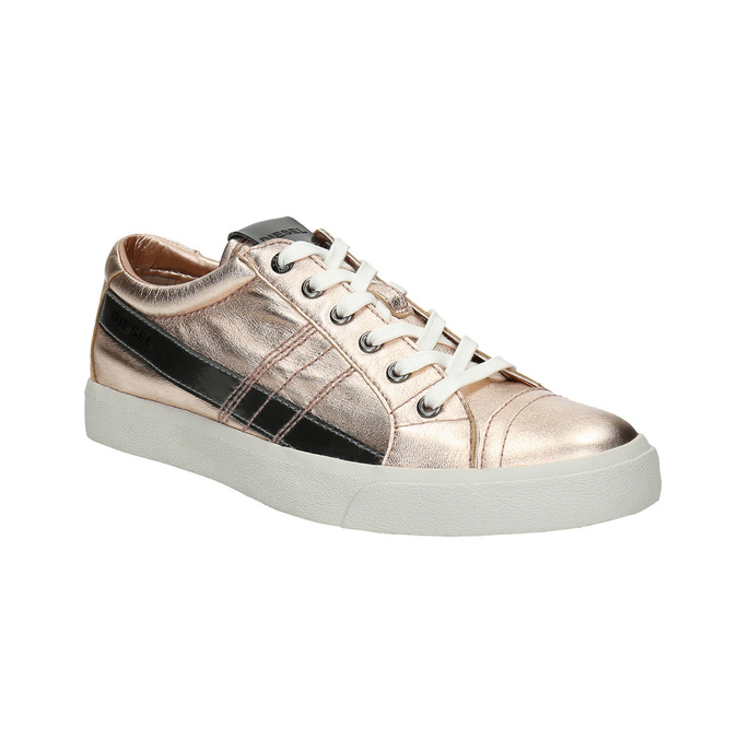 Ladies' leather sneakers with stitching diesel, pink , 584-8438 - 13