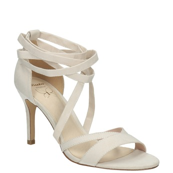 Heeled lace-up sandals insolia, white , 769-1613 - 13