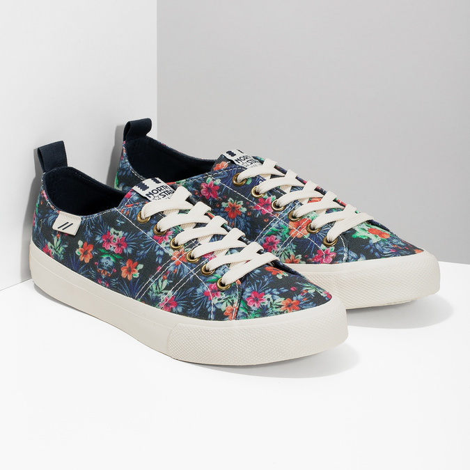 Ladies' sneakers with floral pattern north-star, black , 589-6446 - 26