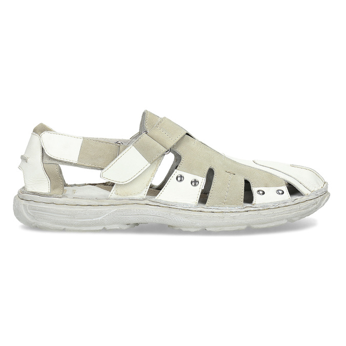 Men's leather sandals bata, white , 866-1622 - 19