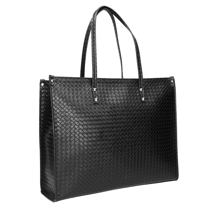 Handbag with a knit pattern marie-claire, black , 961-6540 - 13