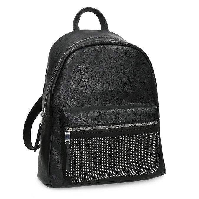 Black backpack with rhinestones bata, black , 961-6855 - 13