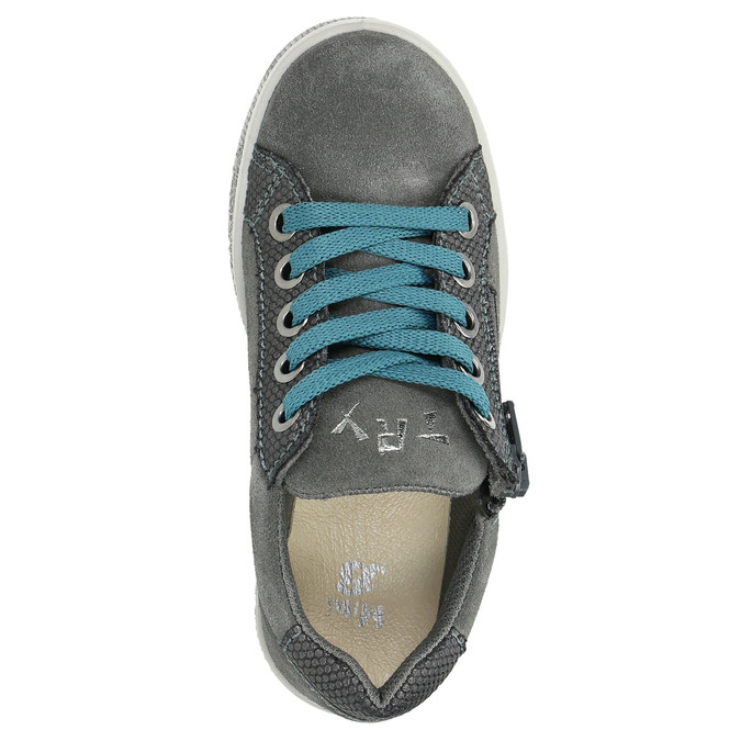 Children's studded leather sneakers mini-b, gray , 323-2173 - 26