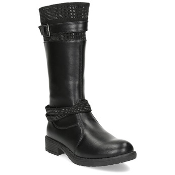 Black Girls' Leather High Boots mini-b, black , 391-6655 - 13