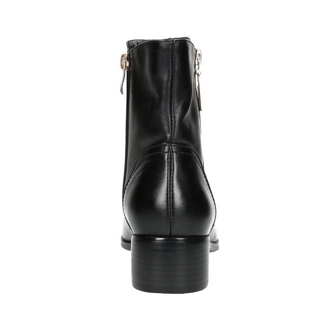 Leather ankle boots with gold zippers bata, black , 594-6654 - 17