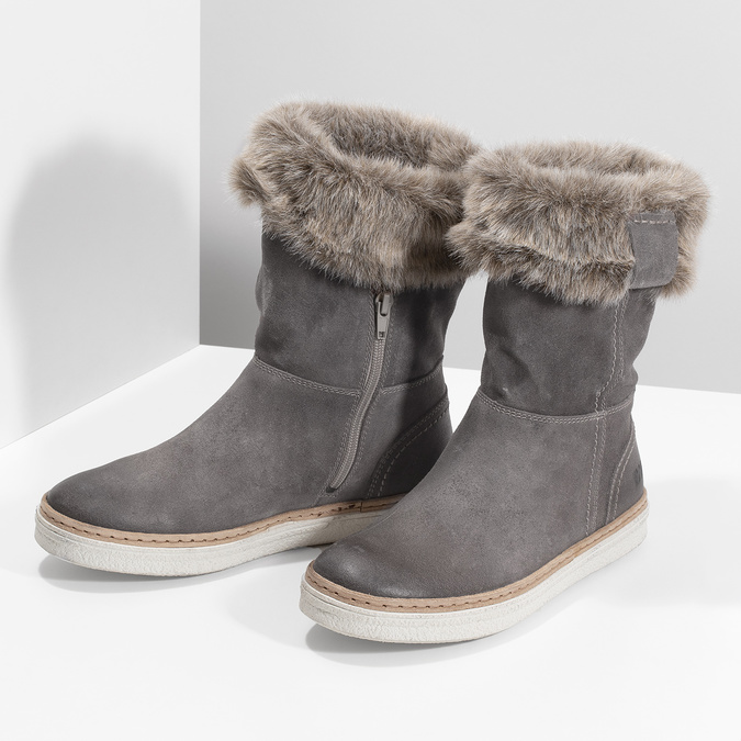 Leather winter shoes with fur, gray , 596-2633 - 16
