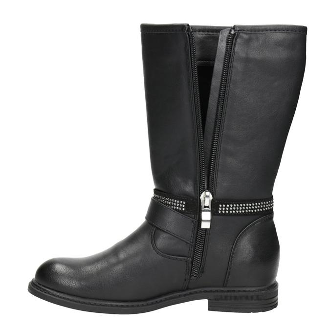 Girls' high boots with rhinestones mini-b, black , 391-6398 - 15