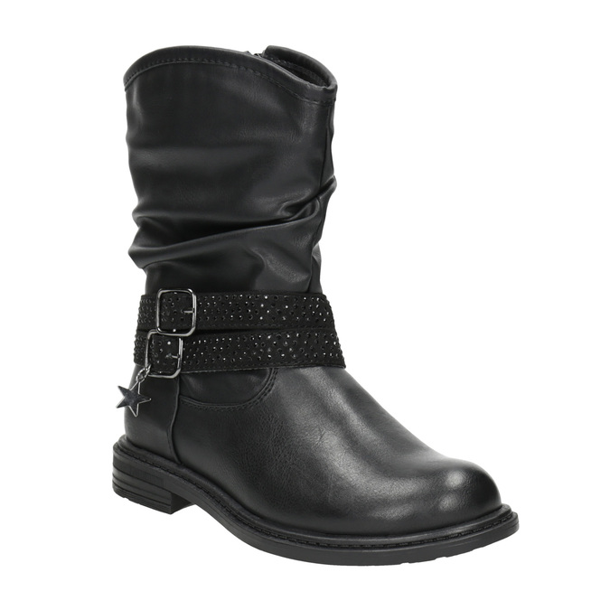 Girls' high boots with rhinestones mini-b, black , 291-6397 - 13