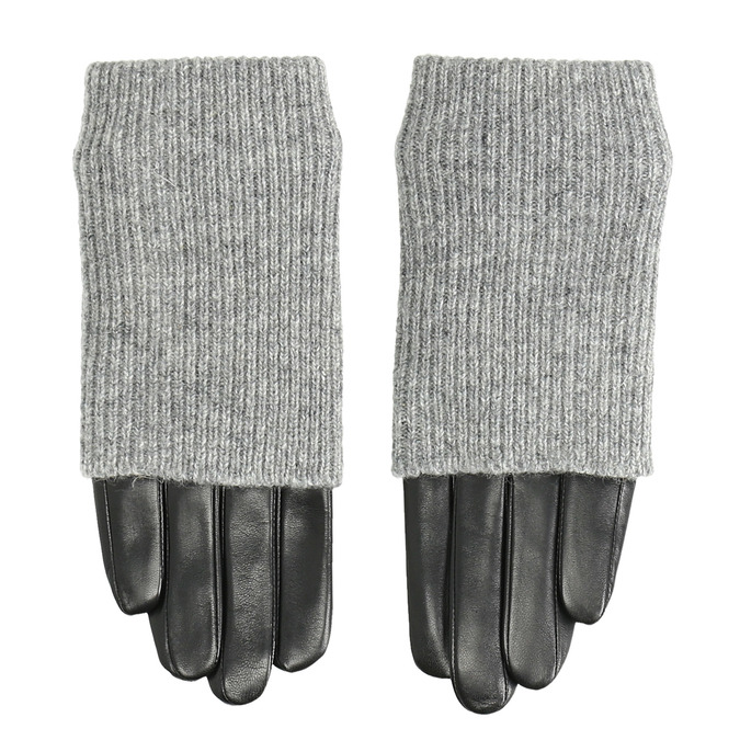 Leather gloves with sweater detail bata, gray , 904-2125 - 26