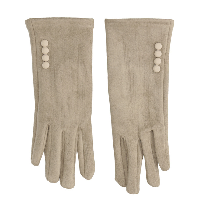 Ladies' Textile Gloves with Buttons, beige , 909-8612 - 26