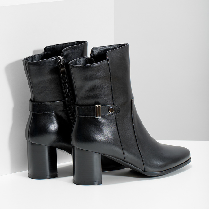 Leather ankle boots with heels bata, black , 696-6648 - 16