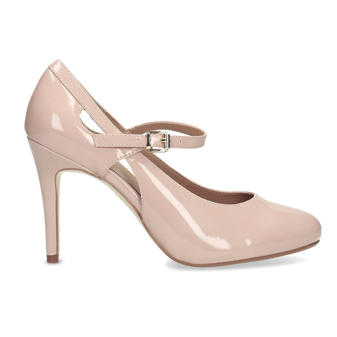 Pinkish cream-colored pumps with cut-outs insolia, beige , 721-8614 - 19