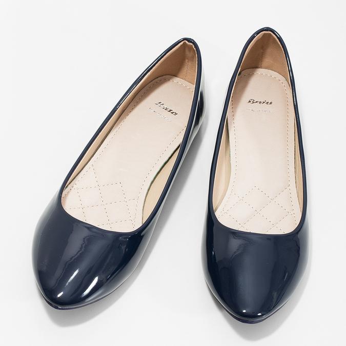 Ladies' patent leather ballerinas bata, blue , 521-2602 - 16