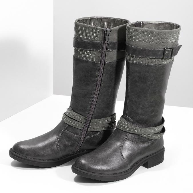 Girls' High Boots with Rhinestones mini-b, gray , 391-2655 - 16
