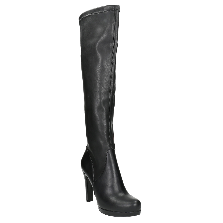 BATA Black Stiletto Platform Tall Ankle Boots